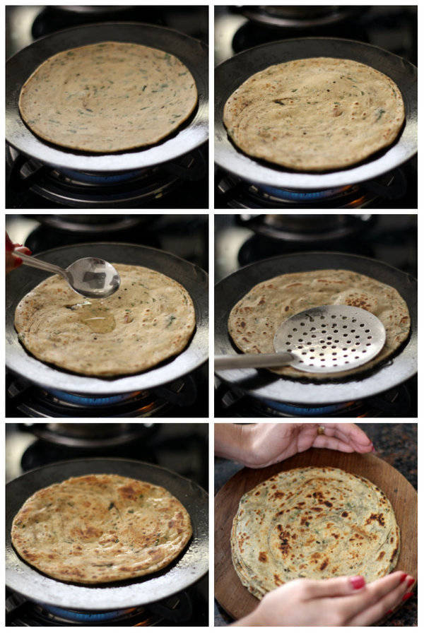 pudina-paratha-recipe-step-roasting-paratha